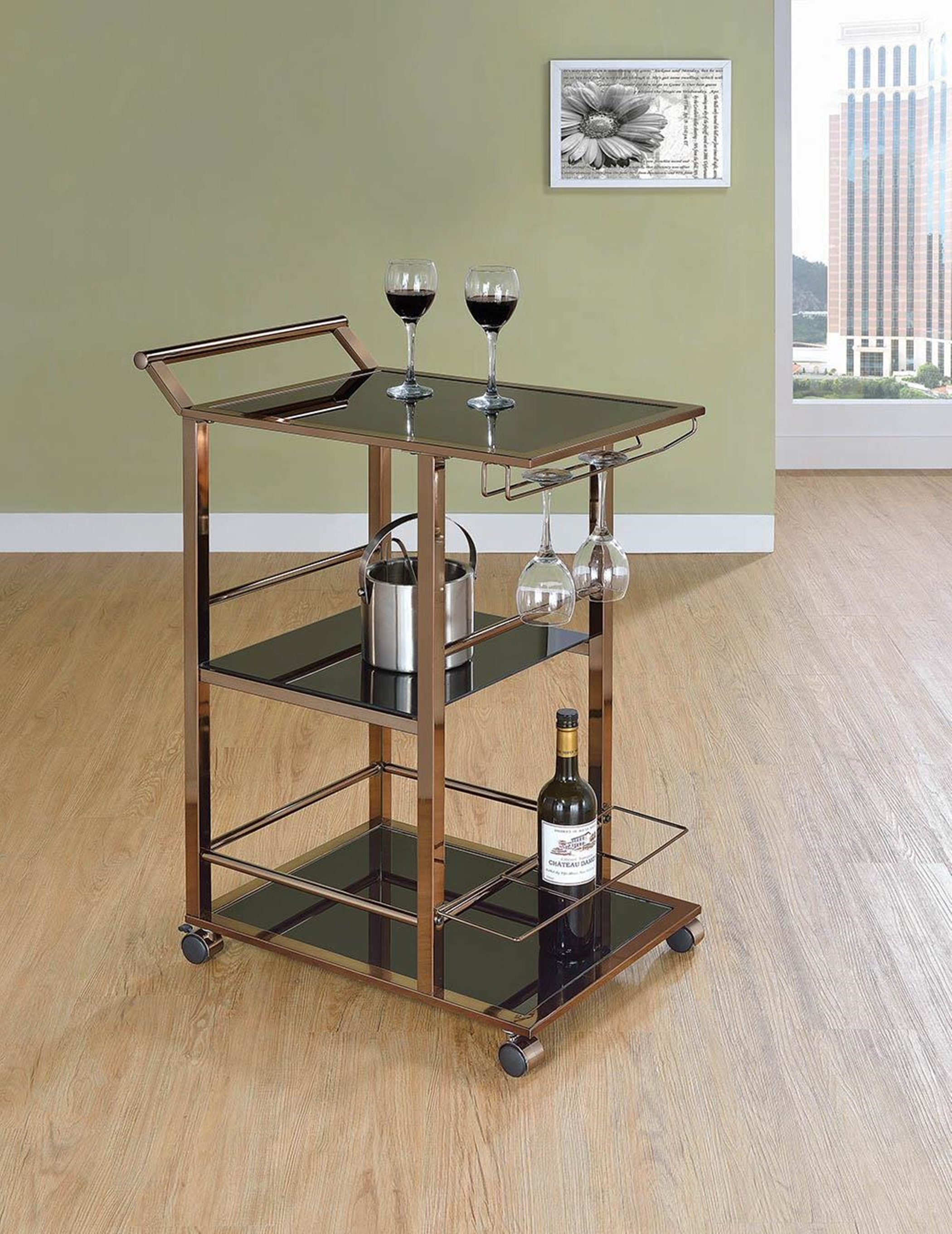 Industrial Black Serving Cart