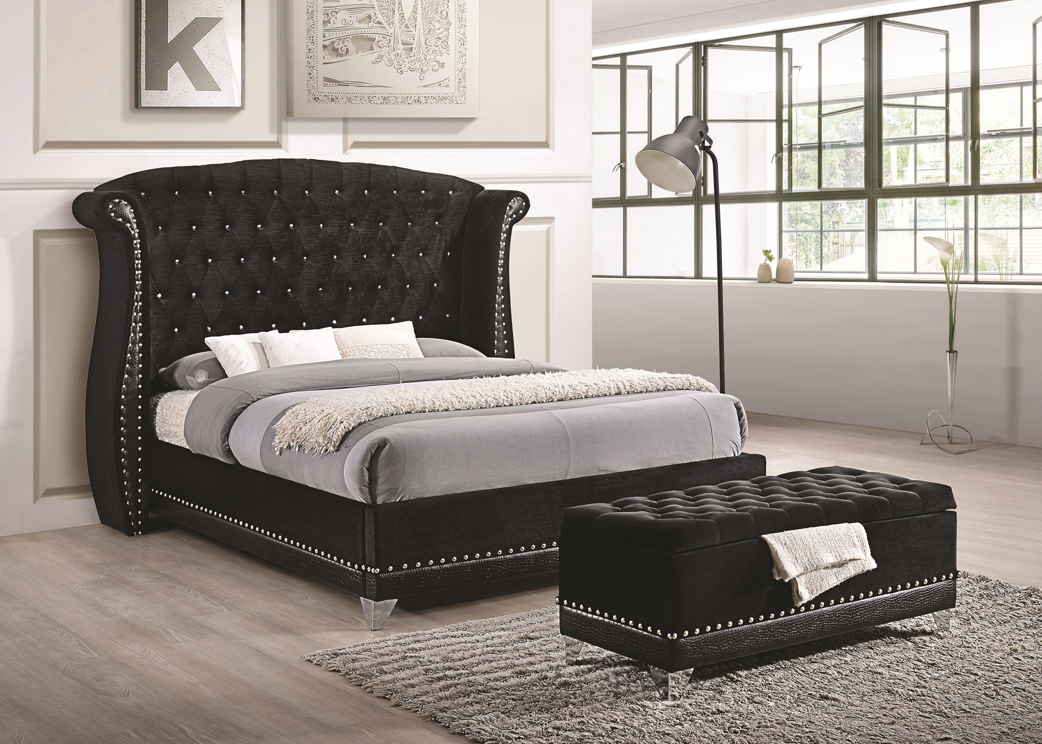 Barzini Black Upholstered King 5-Pc.
