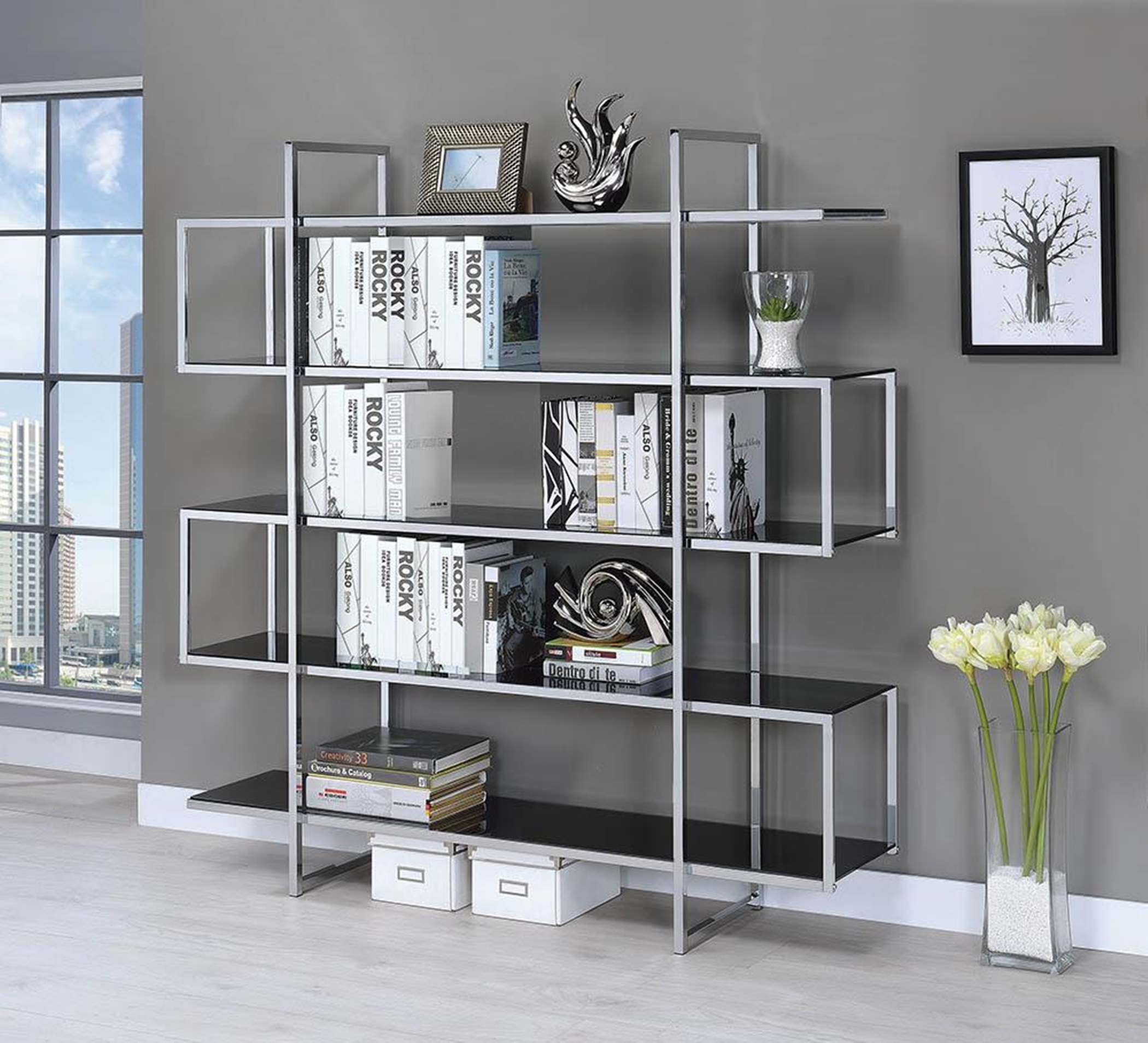 Silver Metal and Black Glass Bookcase