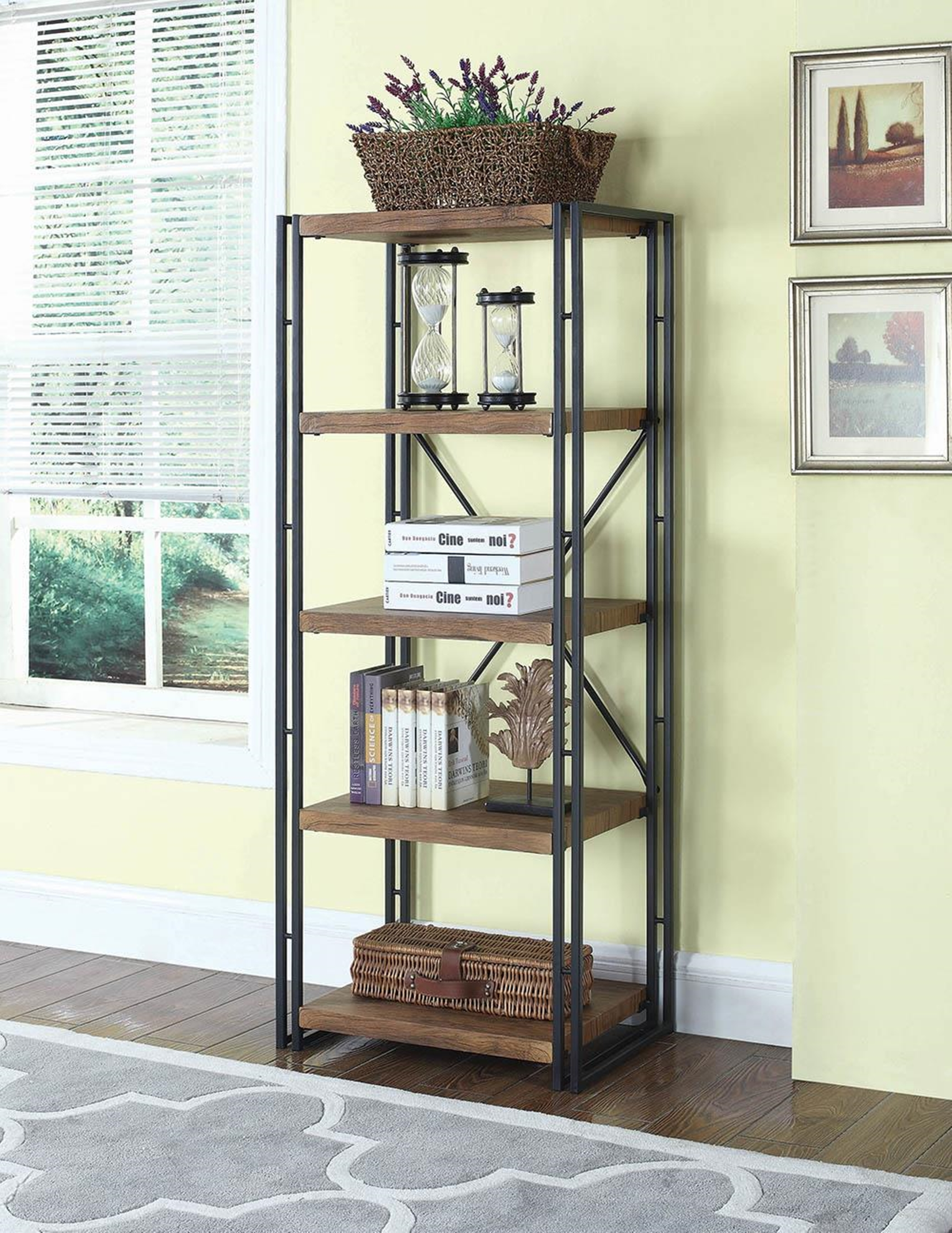 Rustic Weathered Narrow Chestnut Bookcase