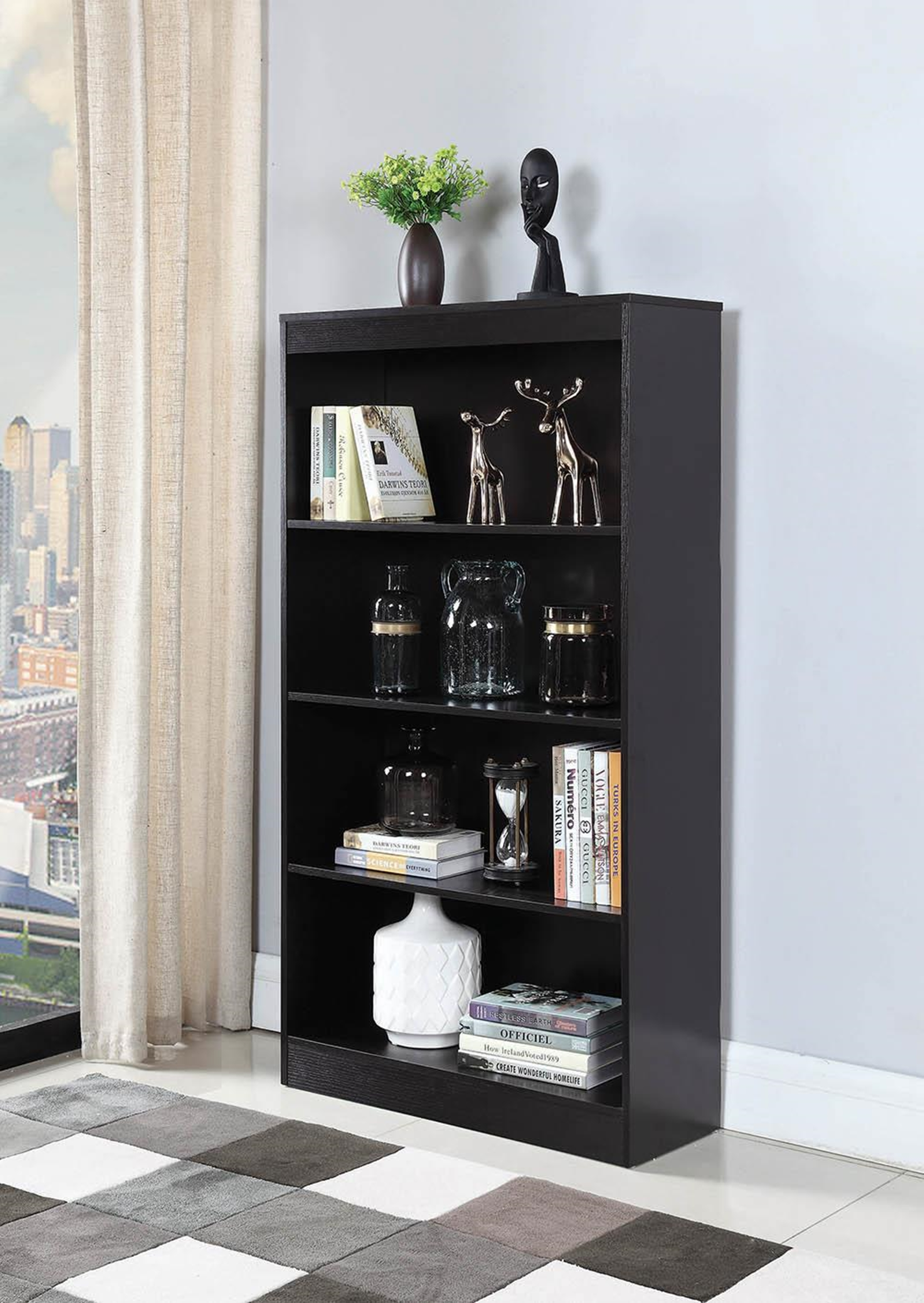 Transitional Capp. Four-Shelf Bookcase