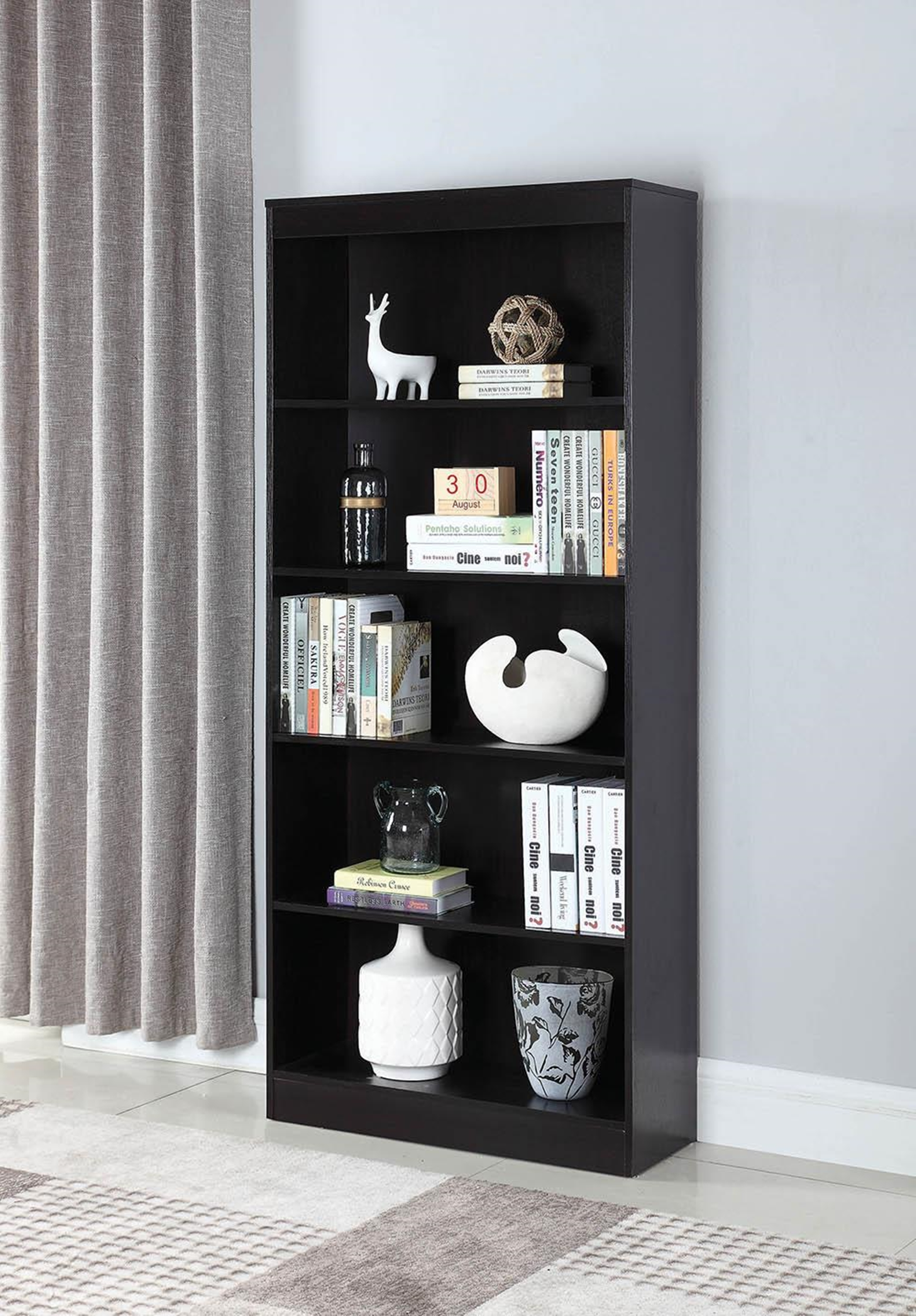 Transitional Capp. Five-Shelf Bookcase