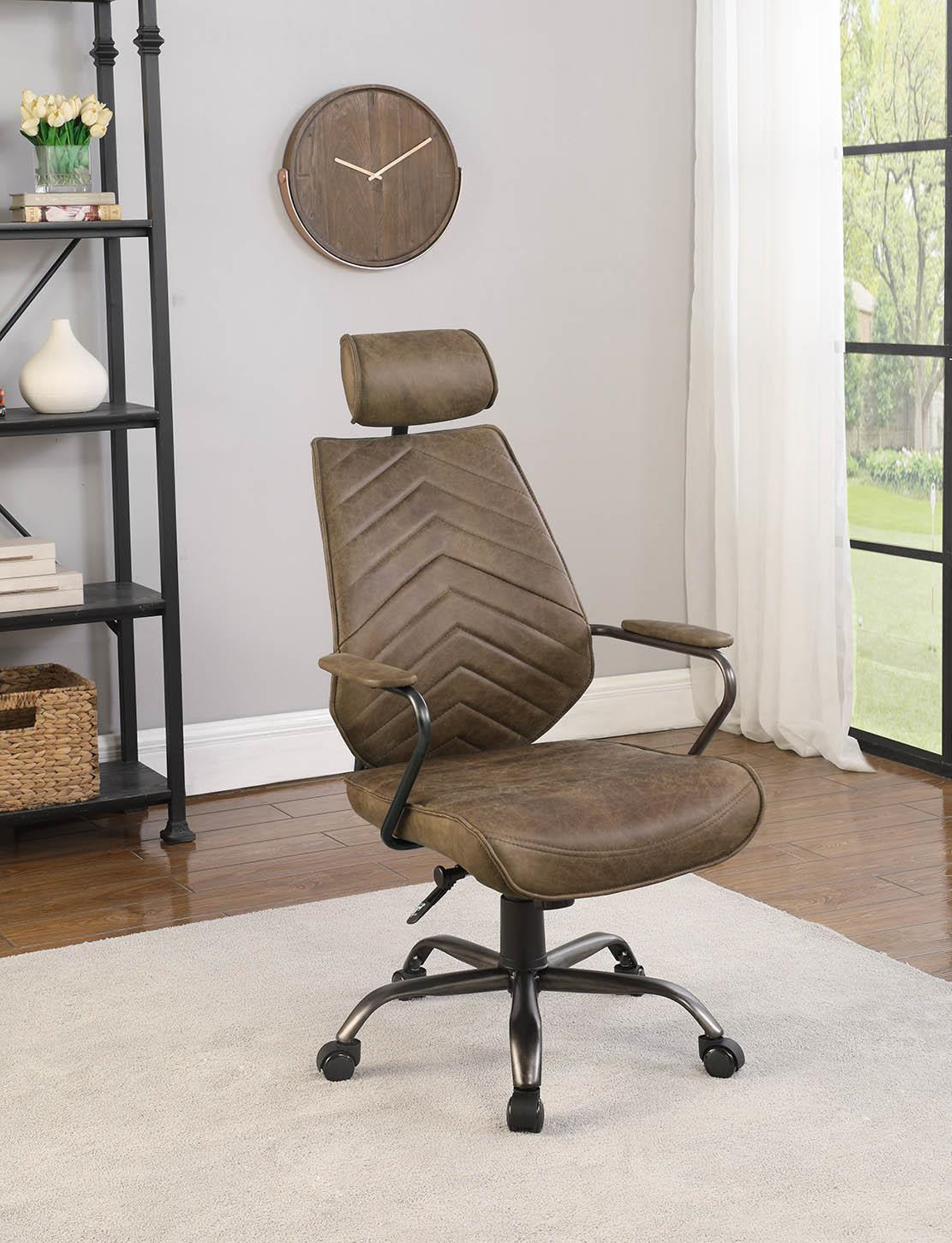802182 High Back Antique Brown Office Chair